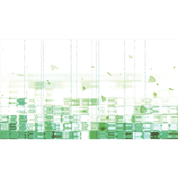 'Green Fluid and Vertical Pattern' Abstract Canvas Wall Art