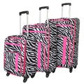 World Traveler Zebra Print 3-piece Expandable Lightweight Spinner Luggage Set