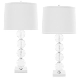 Indoor 1-light Amanda White Crystal Glass Globe Table Lamps (Set of 2)