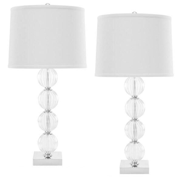 Safavieh Indoor 1-light Amanda White Crystal Glass Globe Table Lamps (Set of 2)
