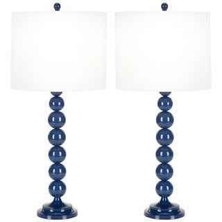 Indoor 1-light Teal Blue Stacked Ball Table Lamps (Set of 2)