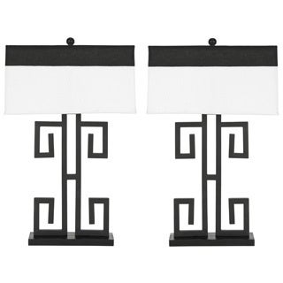 Safavieh Indoor 1-light Greek Key Table Black Table Lamps (Set of 2)