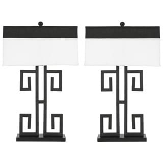 Indoor 1-light Greek Key Table Black Table Lamps (Set of 2)