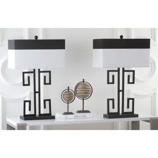 Safavieh Lighting 28-inch Greek Key Table Black Table Lamps (Set of 2)