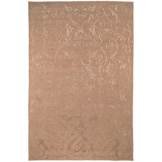 Safavieh Hand-knotted Tibetan Iron Scrolls Beige Wool/ Silk Rug (12' x 18')