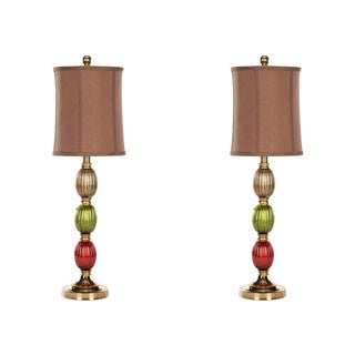 Indoor 1-light Sara Painted Glass Table Lamps (Set of 2)