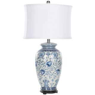 Indoor 1-light White/ Blue Paige Jar Table Lamp