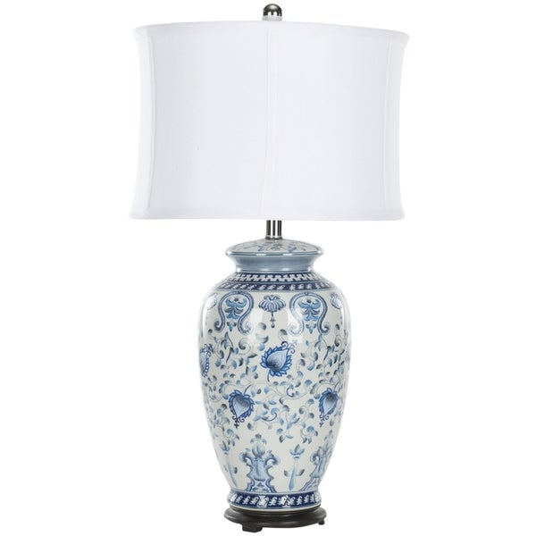safavieh indoor 1 light white blue paige jar table lamp. Black Bedroom Furniture Sets. Home Design Ideas