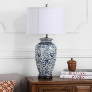 Safavieh Indoor 1-light White/ Blue Paige Jar Table Lamp