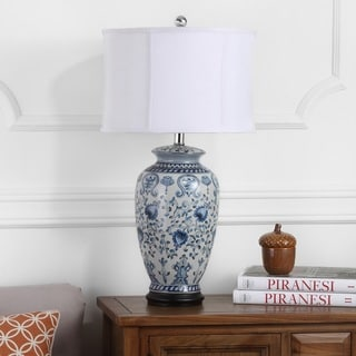 "Safavieh Lighting 27-inch Paige White/ Blue Jar Table Lamp - 15""x15""x26.75"""