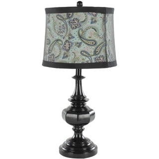 Indoor 1-light Paisley Shade Olivia Black Urn Table Lamps (Set of 2)