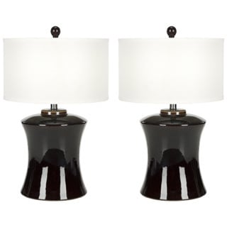 Indoor 1-light Gary Ceramic Dark Brown Table Lamps (Set of 2)
