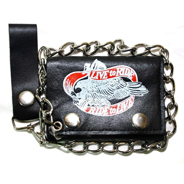 Hollywood Tag 'Live to Ride, Ride to Live' Leather Tri-fold Chain Wallet 11737858