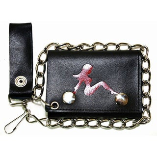 Hollywood Tag 'Lady in Red' Leather Tri-fold Chain Wallet