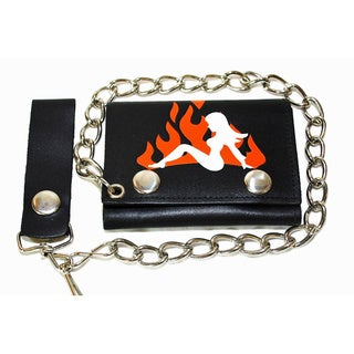 Hollywood Tag 'Lady in Flames' Leather Tri-fold Chain Wallet