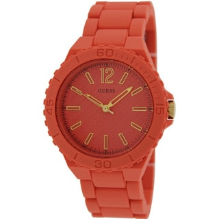 Guess Women's Orange Silicone and Orange Dial Quartz Watch