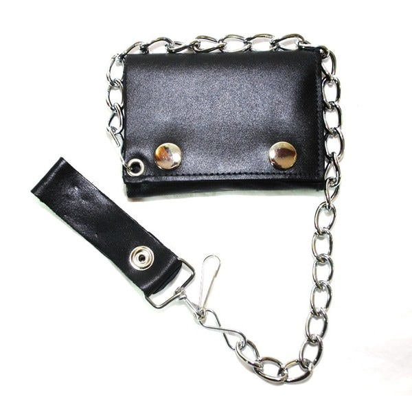Hollywood Tag Black Leather Tri-fold Chain Wallet