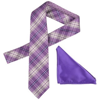 Vance Men's Purple Reversible Silk Touch Microfiber Tie and Hanky Set