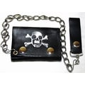 Hollywood Tag Skull with Crossbones Leather Tri-fold Chain Wallet