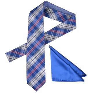 Vance Men's Reversible Silk Touch 29-Inch Microfiber Tie and Hanky Set