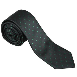 Vance Men's Black and Green Polka-Dot Print Silk-Touch Microfiber Skinny Tie