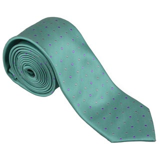Vance Men's Sophisticated Green Polka-Dot Print Silk-Touch Microfiber Skinny Tie