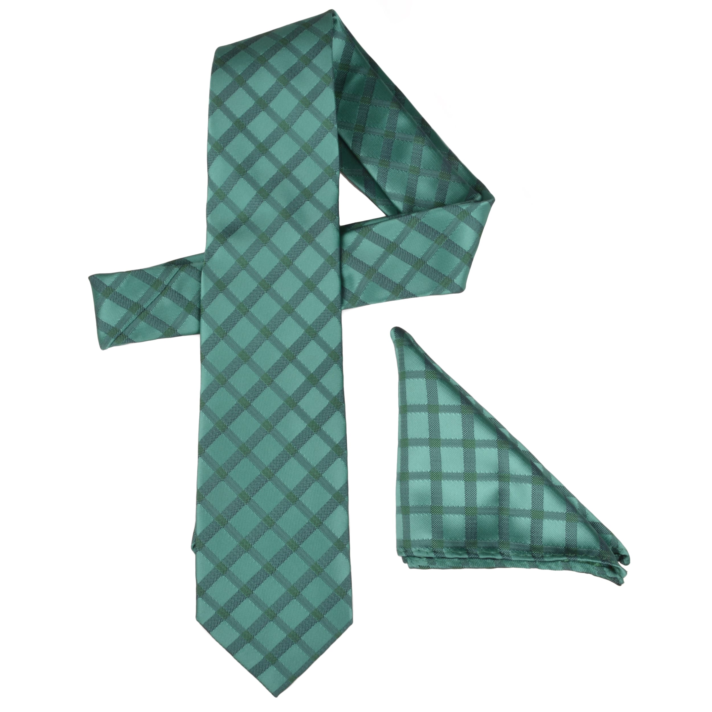 Vance Men's Plaid Silk Touch Green Microfiber Tie and Hanky Set