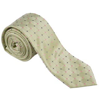 Vance Men's Light Green Polka-Dot Print Silk-Touch Microfiber Skinny Tie