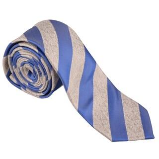 Vance Men's Blue-Striped Silk Touch Microfiber Skinny Tie