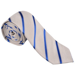 Vance Men's Blue/White Striped Silk Touch Microfiber Skinny Tie