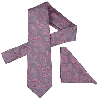 Vance Men's Paisley Print Silk Touch Microfiber Tie and Hanky Set