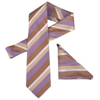 Vance Men's Beige/Purple Striped Silk Touch Microfiber Tie and Hanky Set