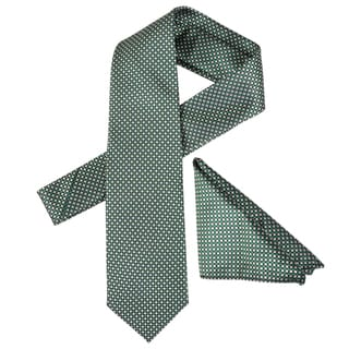Vance Men's Check Pattern Silk Touch Microfiber Tie and Hanky Set