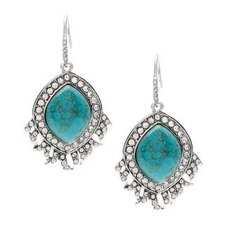 ABS Turquoise Feather Drop Earrings
