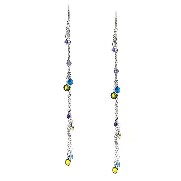 ABS Blue/ Green and Purlple Charmy Linear Dangle Earrings
