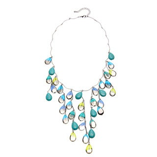 ABS Turquoise/ Blue and Green Teardrop Bead Bib Necklace