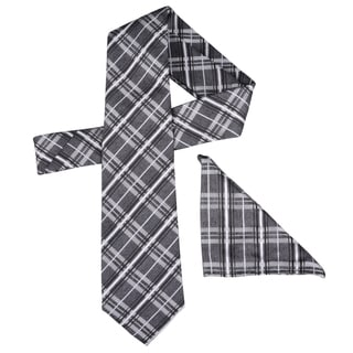 Vance Men's Plaid Silk Touch Microfiber Tie and Hanky Set