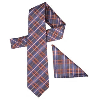 Vance Men's Plaid Silk Touch Brown/Orange/Blue Microfiber Tie and Hanky Set