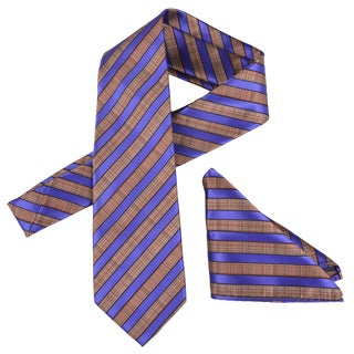 Vance Men's Striped Silk Touch Microfiber Tie and Hanky Set