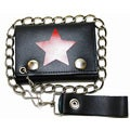 Hollywood Tag Red Star Leather Tri-fold Chain Wallet