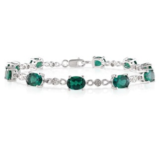 Miadora Sterling Silver Created Emerald 1/8ct TDW Diamond Bracelet (I-J, I2-I3)