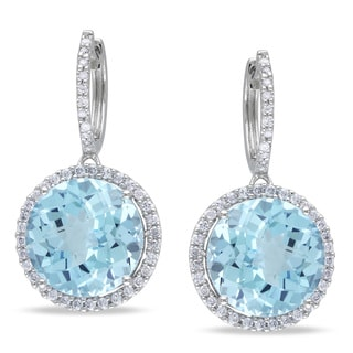 Miadora 14k White Gold Blue Topaz 1/2ct TDW Diamond Earrings (G-H, I1-I2)