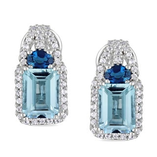 Miadora Sterling Silver Blue Topaz and White Sapphire Earrings