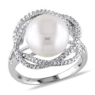 Miadora Sterling Silver White Pearl and Cubic Zirconia Ring (10-11 mm)