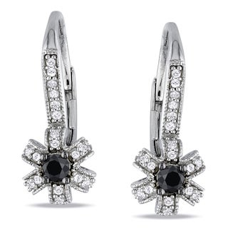 Miadora Sterling Silver 1/3ct TDW Black and White Diamond Earrings (H-I, I2-I3)