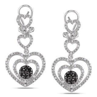 Miadora Sterling Silver 1/2ct TDW Black and White Diamond Heart Earrings (H-I, I2-I3)