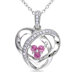 Miadora Sterling Silver Created Pink Sapphire and Diamond Heart Necklace (G-H, I1-I2)