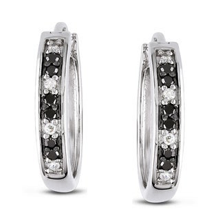Miadora Sterling Silver 1/3ct TDW Black and White Diamond Hoop Earrings (H-I, I2-I3)