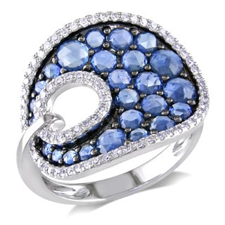 Miadora 14k White Gold Sapphire and 1/3ct TDW Diamond Cocktail Ring (G-H, I1-I2)