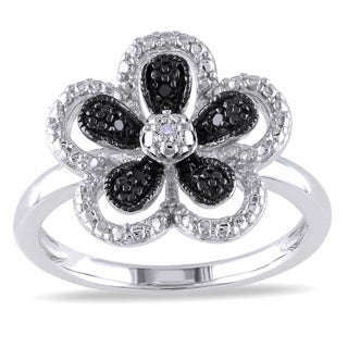 Miadora Sterling Silver Black and White Diamond Flower Ring (H-I, I2-I3)